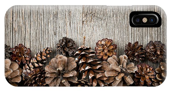 Autumn iPhone X Case - Rustic Wood With Pine Cones by Elena Elisseeva