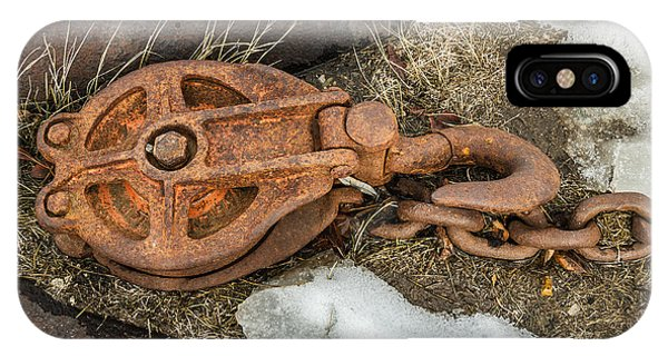 Rusty Pulley And Chain IPhone Case