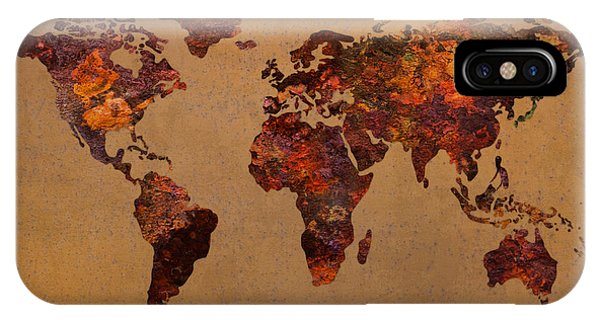 Rusty Vintage World Map On Old Metal Sheet Wall IPhone Case