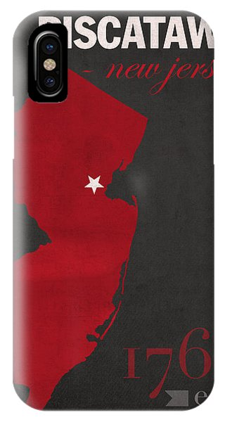 Scarlet iPhone Case - Rutgers University Scarlet Knights Piscataway Nj College Town State Map Poster Series No 092 by Design Turnpike