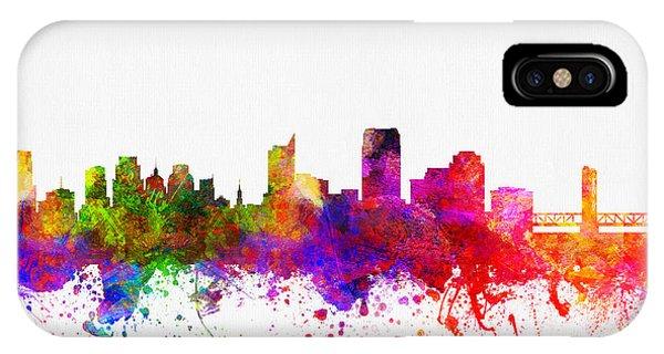 Sacramento iPhone X Case - Sacramento California Skyline 02 by Aged Pixel