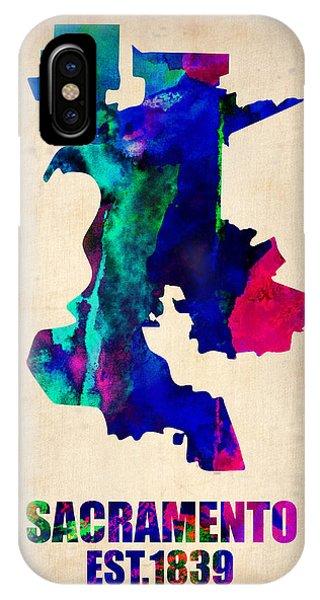 Sacramento iPhone X Case - Sacramento Watercolor Map by Naxart Studio