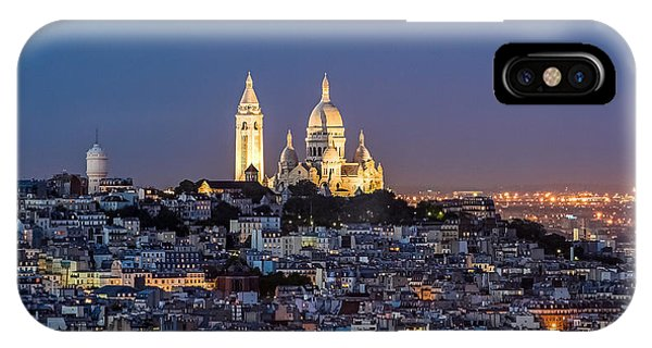 IPhone Case featuring the photograph Sacred Heart At The Summit Of Montmartre Paris by Pierre Leclerc Photography