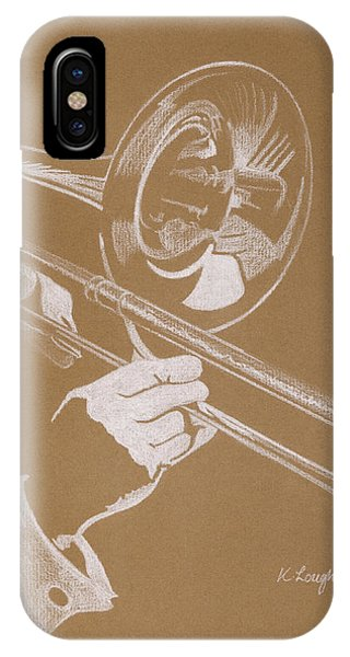 Music iPhone Case - Sacred Trombone by Karen  Loughridge KLArt