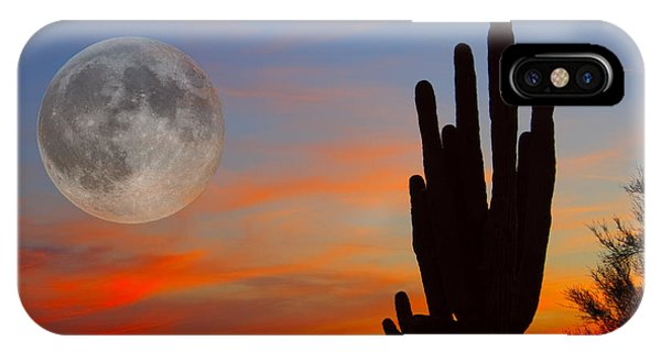 Saguaro Full Moon Sunset IPhone Case