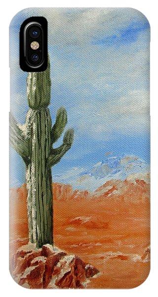 Saguaro In Snow IPhone Case
