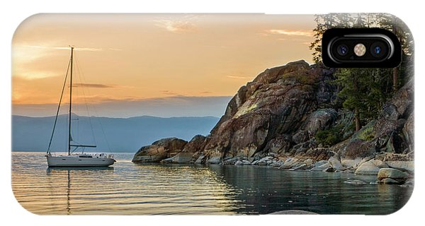 Moor iPhone Case - Sail Boat Over The Lake Tahoe by Michael Okimoto