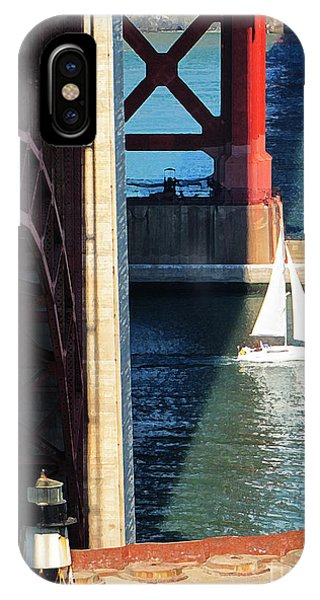 Sail Boat Passes Beneath The Golden Gate Bridge IPhone Case