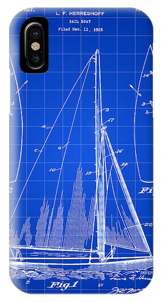 Schooner iPhone Case - Sail Boat Patent 1925 - Blue by Stephen Younts