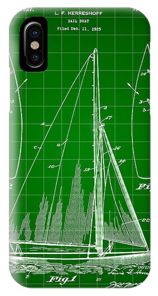 Schooner iPhone Case - Sail Boat Patent 1925 - Green by Stephen Younts