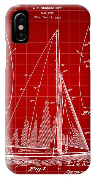Schooner iPhone Case - Sail Boat Patent 1925 - Red by Stephen Younts