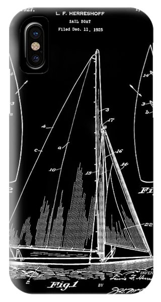 Schooner iPhone Case - Sail Boat Patent 1925 - Black by Stephen Younts