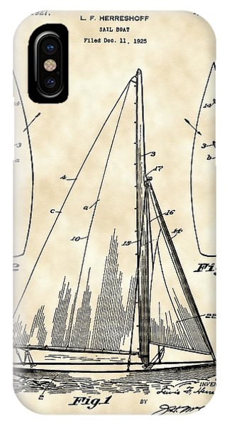 Schooner iPhone Case - Sail Boat Patent 1925 - Vintage by Stephen Younts