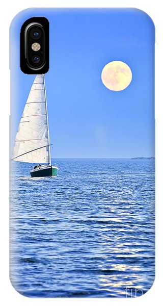 Boat iPhone Case - Sailboat At Full Moon by Elena Elisseeva