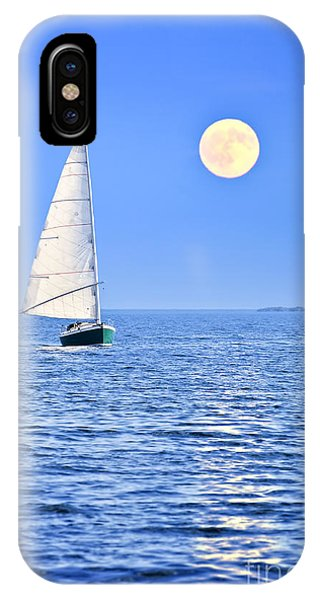 Boats iPhone Case - Sailboat At Full Moon by Elena Elisseeva