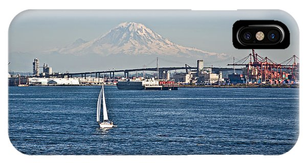 Sailboat Foreground Mt Rainier Washington Landscape IPhone Case