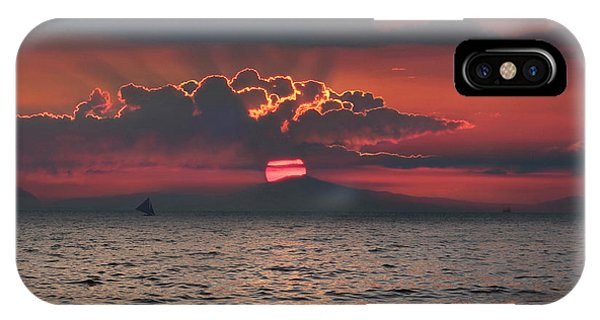 Sonne iPhone Case - Sailboat In Sea At Sunset, Boracay by Per-Andre Hoffmann