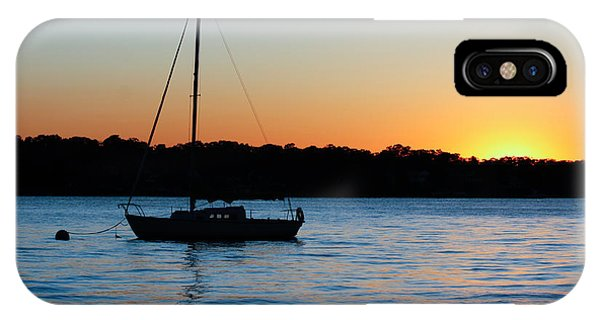 Sailboat Moored At Sunset IPhone Case