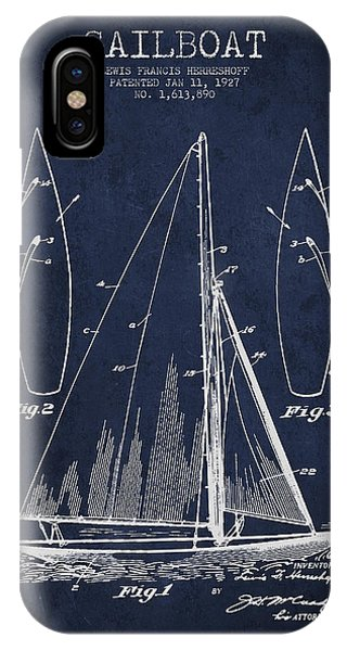 Boats iPhone Case - Sailboat Patent Drawing From 1927 by Aged Pixel