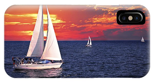 Boats iPhone Case - Sailboats At Sunset by Elena Elisseeva