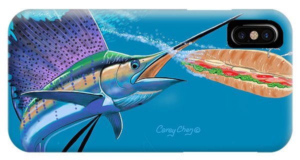 Reef Diving iPhone Case - Sailfish Sub by Carey Chen