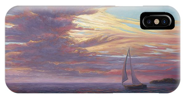 Sailboat iPhone Case - Sailing Away by Lucie Bilodeau
