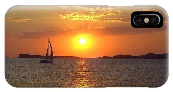 Sailing Boat In Ibiza Sunset IPhone Case
