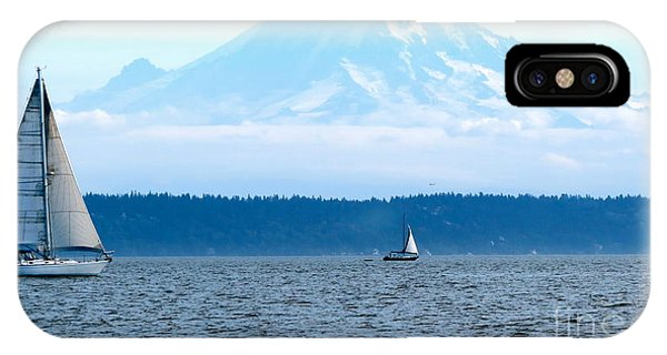 Sailing In Mt. Rainier's Shadow IPhone Case