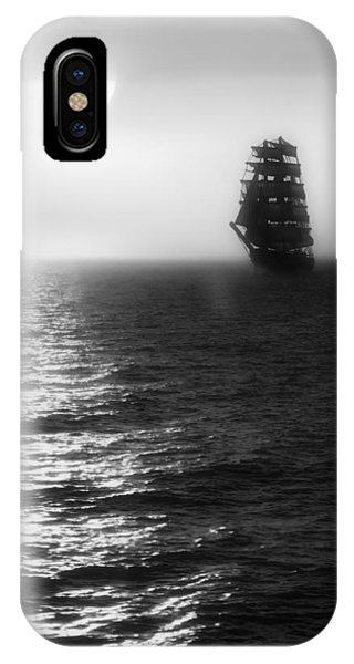 Sailing Out Of The Fog - Black And White IPhone Case