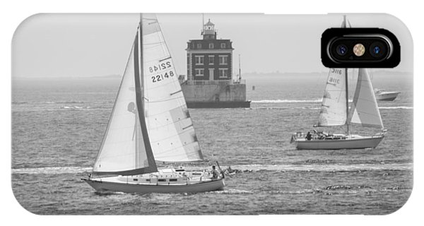 Sailing Past Ledge Light - Black And White IPhone Case