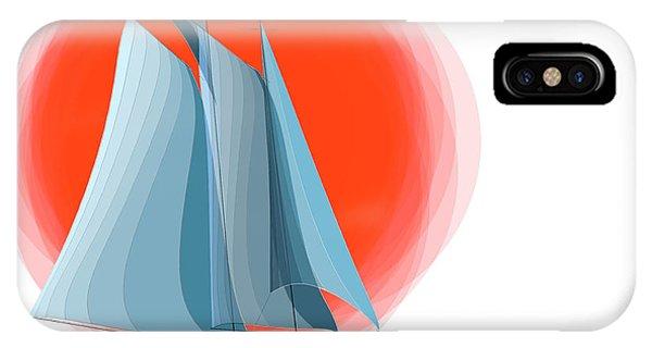 Schooner iPhone Case - Sailing Red Sun by Ben and Raisa Gertsberg