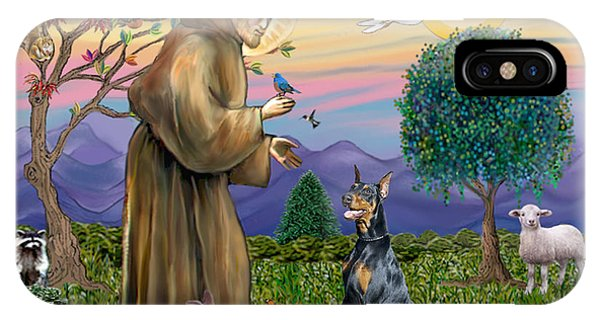 Saint Francis And Doberman Pinscher IPhone Case