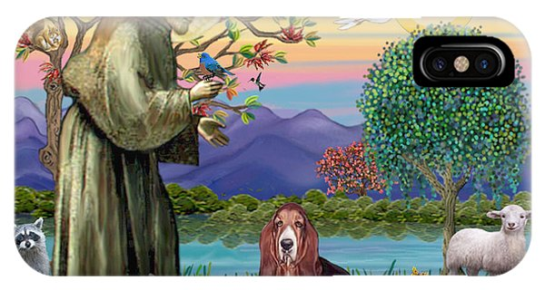 Saint Francis Blesses A Basset Hound IPhone Case