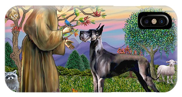 Saint Francis Blesses A Black Great Dane IPhone Case
