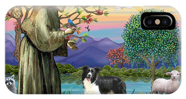 Saint Francis Blesses A Border Collie IPhone Case