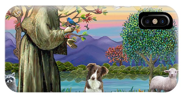 Saint Francis Blesses A Brown And White Border Collie IPhone Case