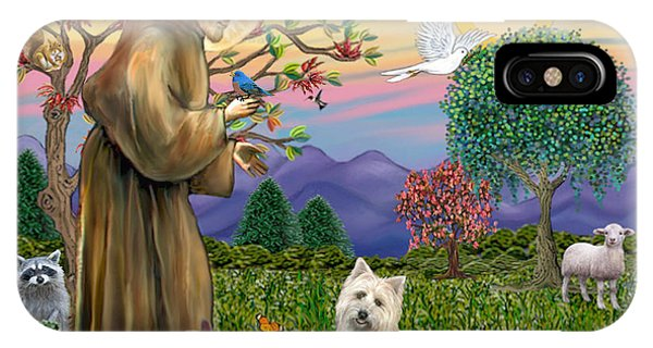 Saint Francis Blesses A Cairn Terrier IPhone Case