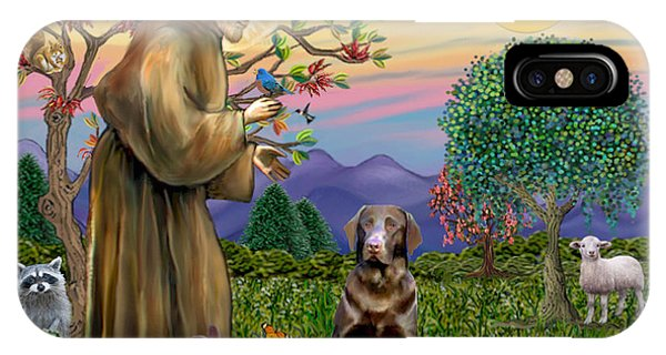 Saint Francis Blesses A Chocolate Labrador Retriever IPhone Case