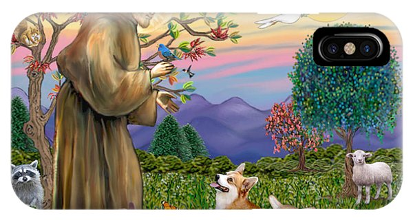 Saint Francis Blesses A Corgi And Her Pup IPhone Case