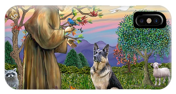 Saint Francis Blesses A German Shepherd IPhone Case