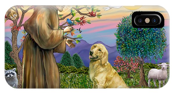 Saint Francis Blesses A Golden Retriever IPhone Case