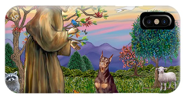 Saint Francis Blesses A Red Doberman IPhone Case