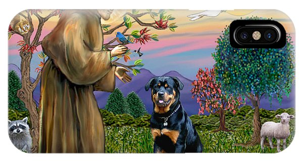 Saint Francis Blesses A Rottweiler IPhone Case