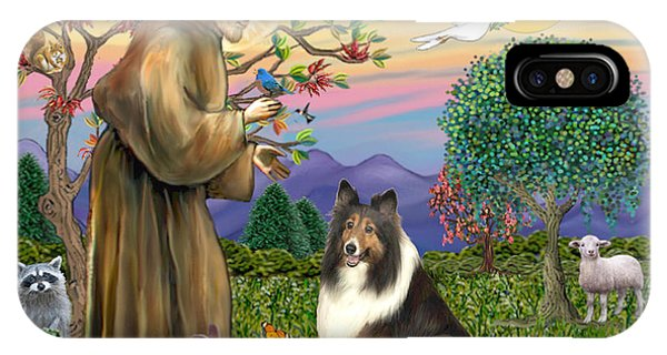 Saint Francis Blesses A Sable And White Collie IPhone Case