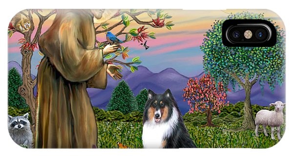 Saint Francis Blesses A Tri Color Collie IPhone Case