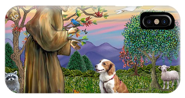 Saint Francis Blesses A Welsh Springer Spaniel IPhone Case