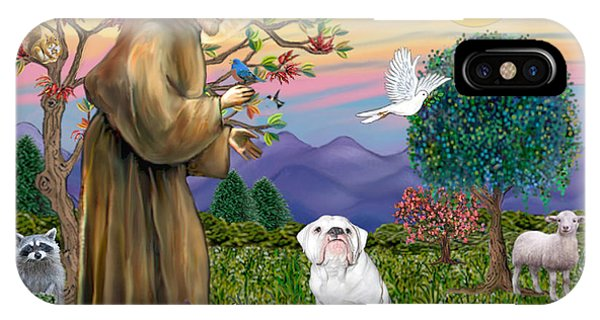 Saint Francis Blesses An English Bulldog IPhone Case