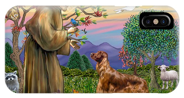 Saint Francis Blesses An Irish Setter IPhone Case