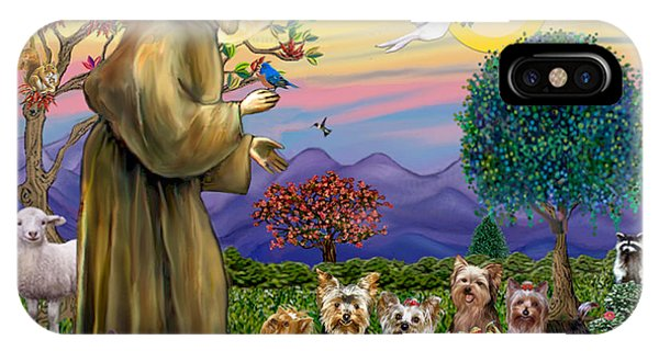 Saint Francis Blesses Seven Yorkies IPhone Case