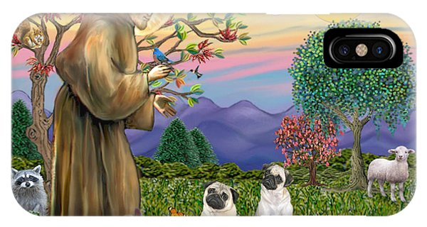 Saint Francis Blesses Two Fawn Pugs IPhone Case